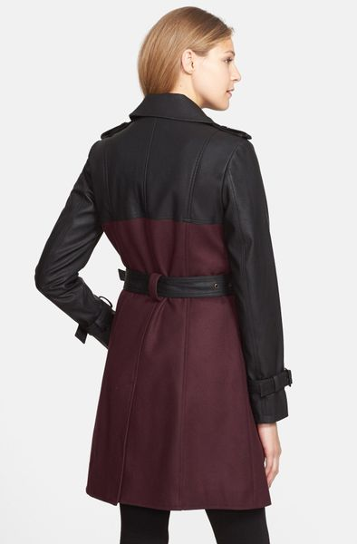 Gallery Faux Leather Wool Blend Trench Coat In Purple