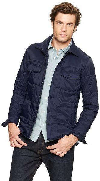 Blue Gap Quilted shirt jacket $40 Medium