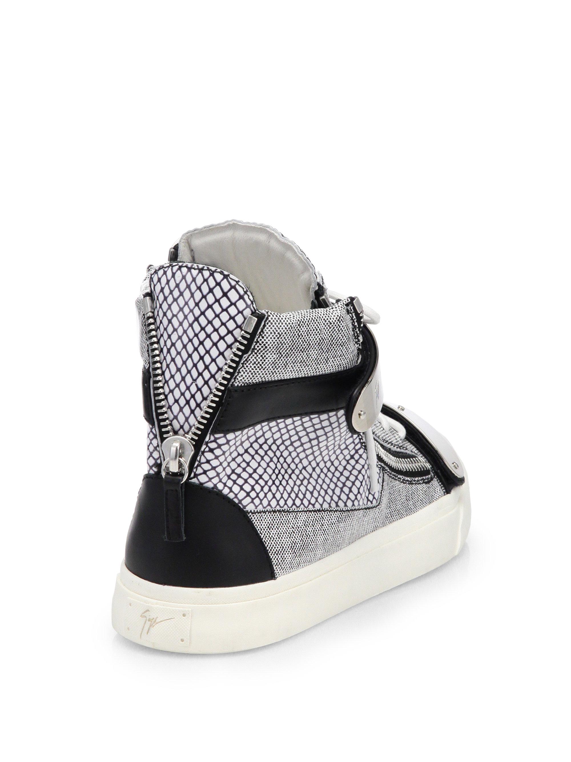 giuseppe zanotti scribble hightop sneakers in white for