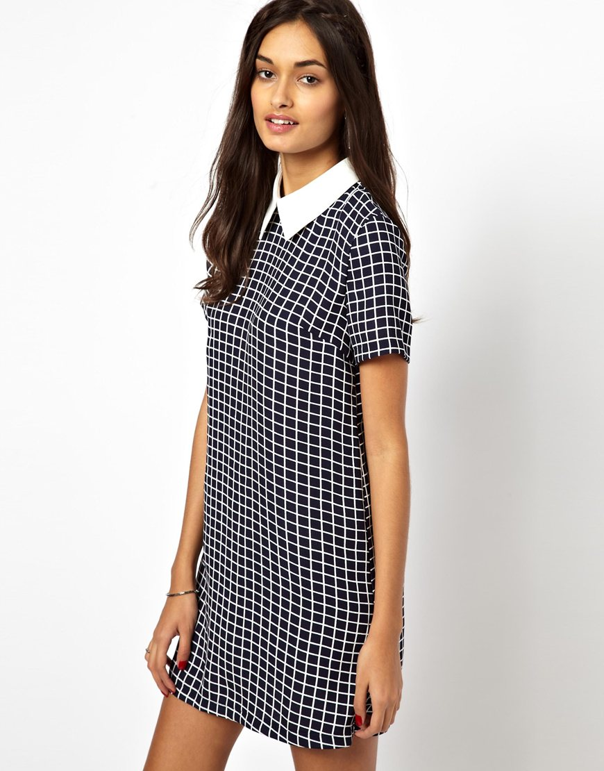 Lyst Glamorous Short Sleeve Shift Dress With Contrast