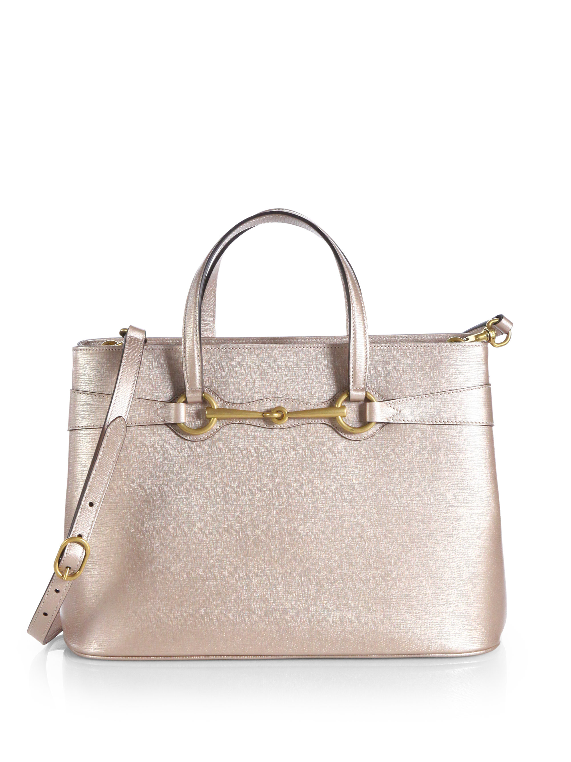 d6cea20dbc2 Lyst - Gucci Bright Bit Metallic Leather Tophandle Bag in Pink