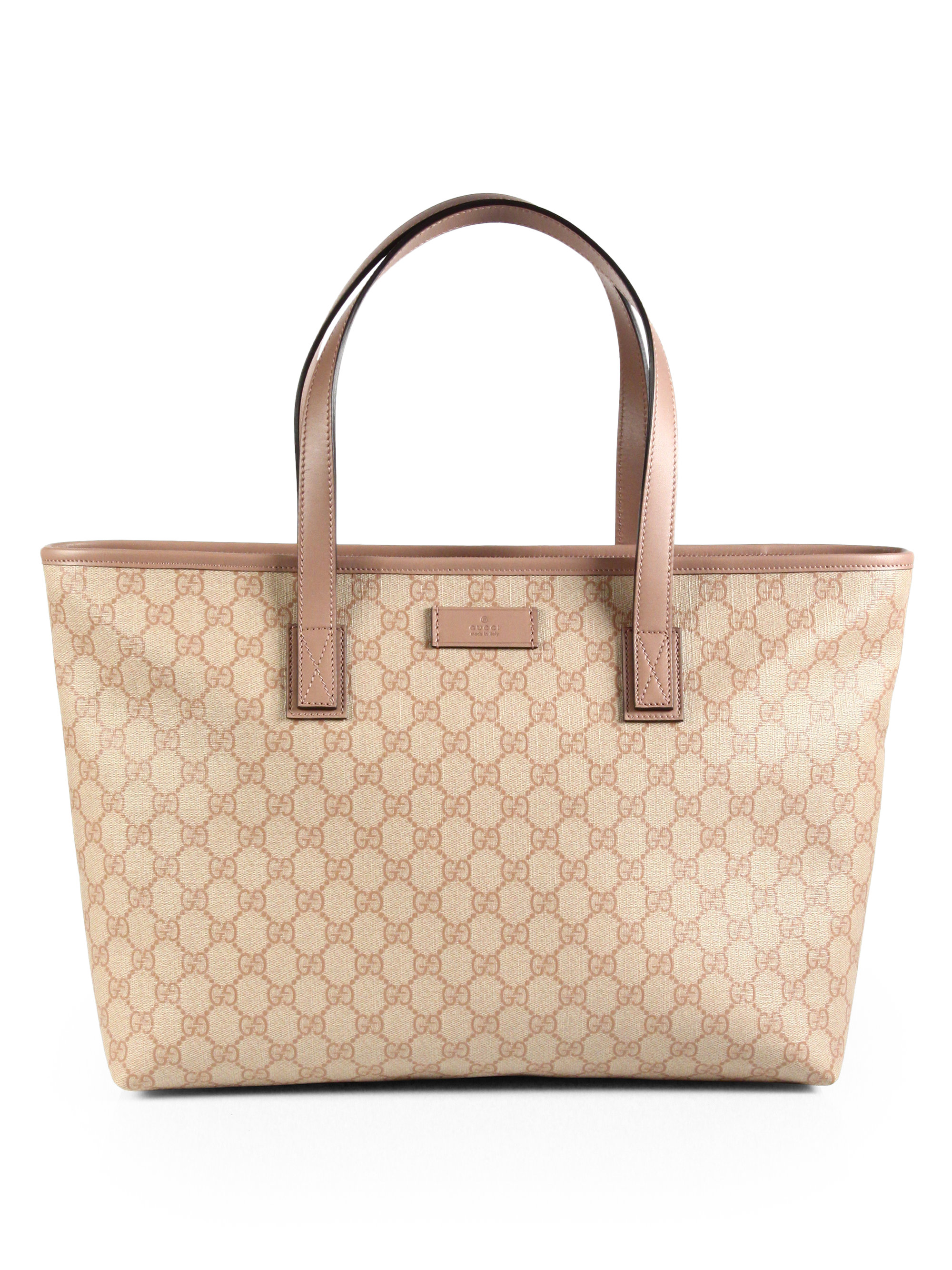 lyst gucci gg supreme canvas tote in pink