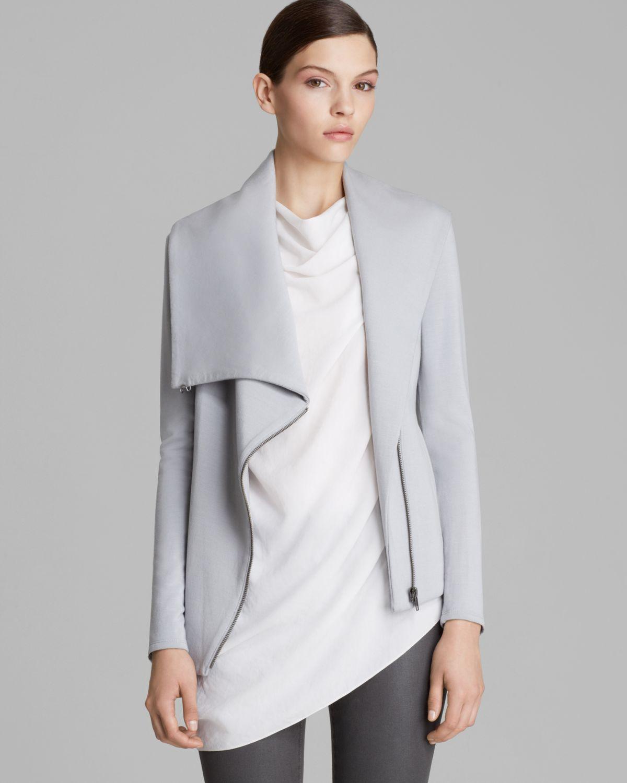 Lyst helmut lang helmut by sweatshirt villous zip up in gray - Sweatshirt kleid lang ...