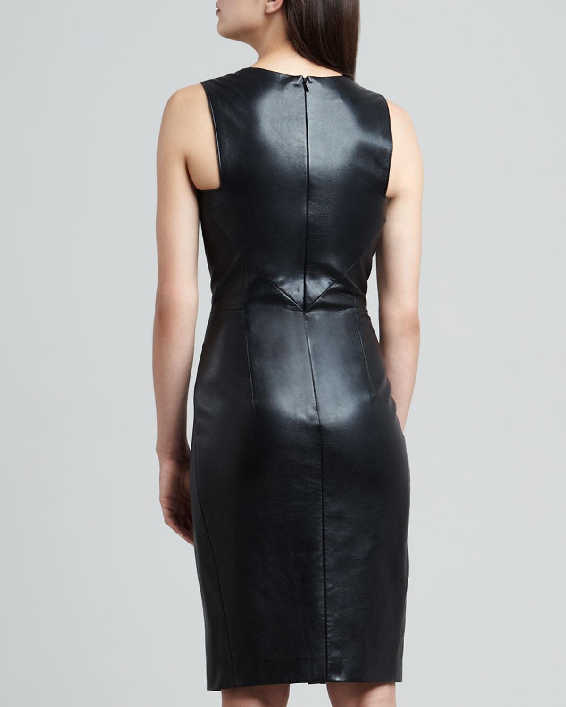 J. mendel Envelope Skirt Lambskin Leather Dress in Black   Lyst