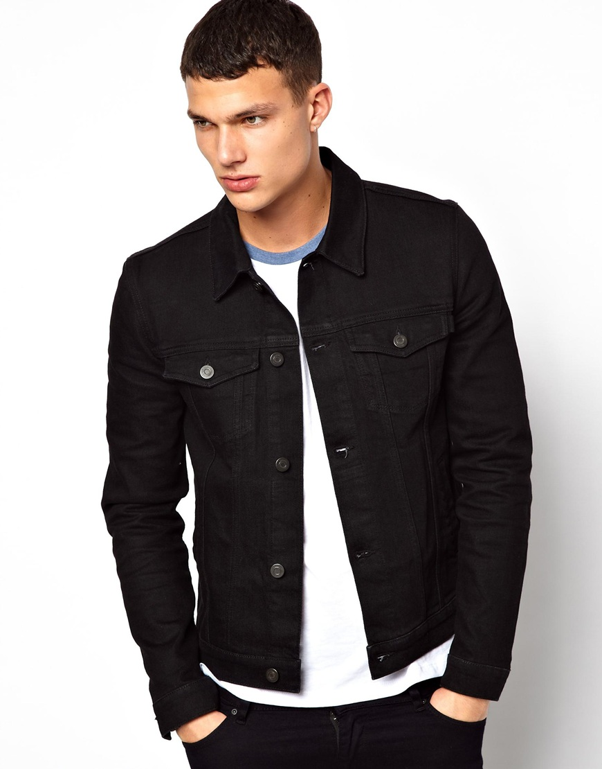 differently great discount for value for money ASOS Denim Jacket In Skinny Fit in Black for Men - Lyst
