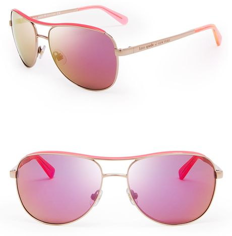 Kate Spade Dusty Mirrored Aviator Sunglasses In Pink Rose