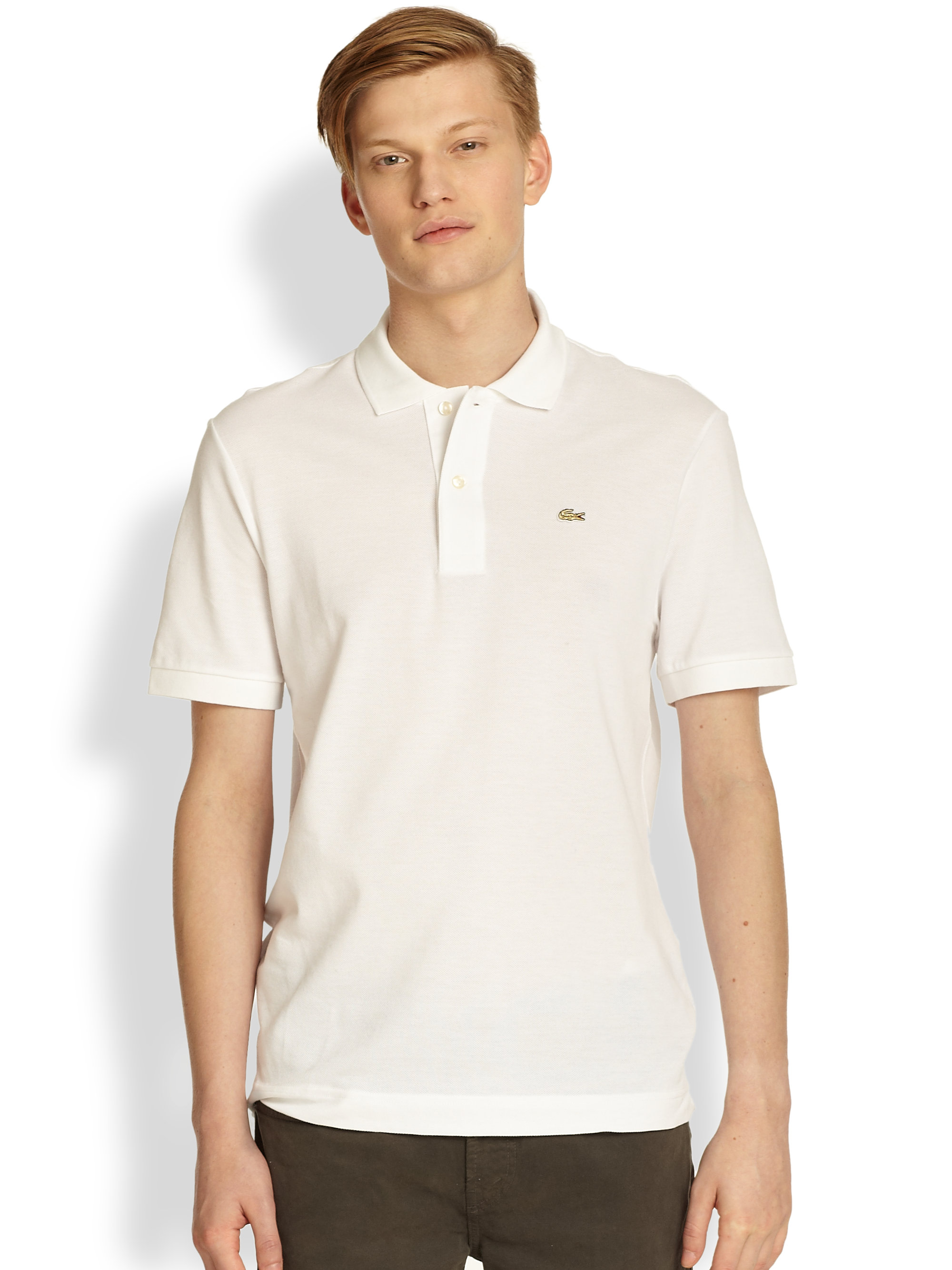 Lacoste cotton pique polo shirt in beige for men white for Cotton polo shirts for men