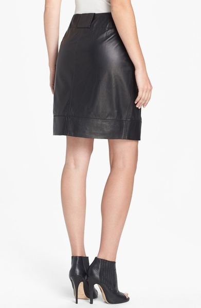 lafayette 148 new york leather skirt in black lyst