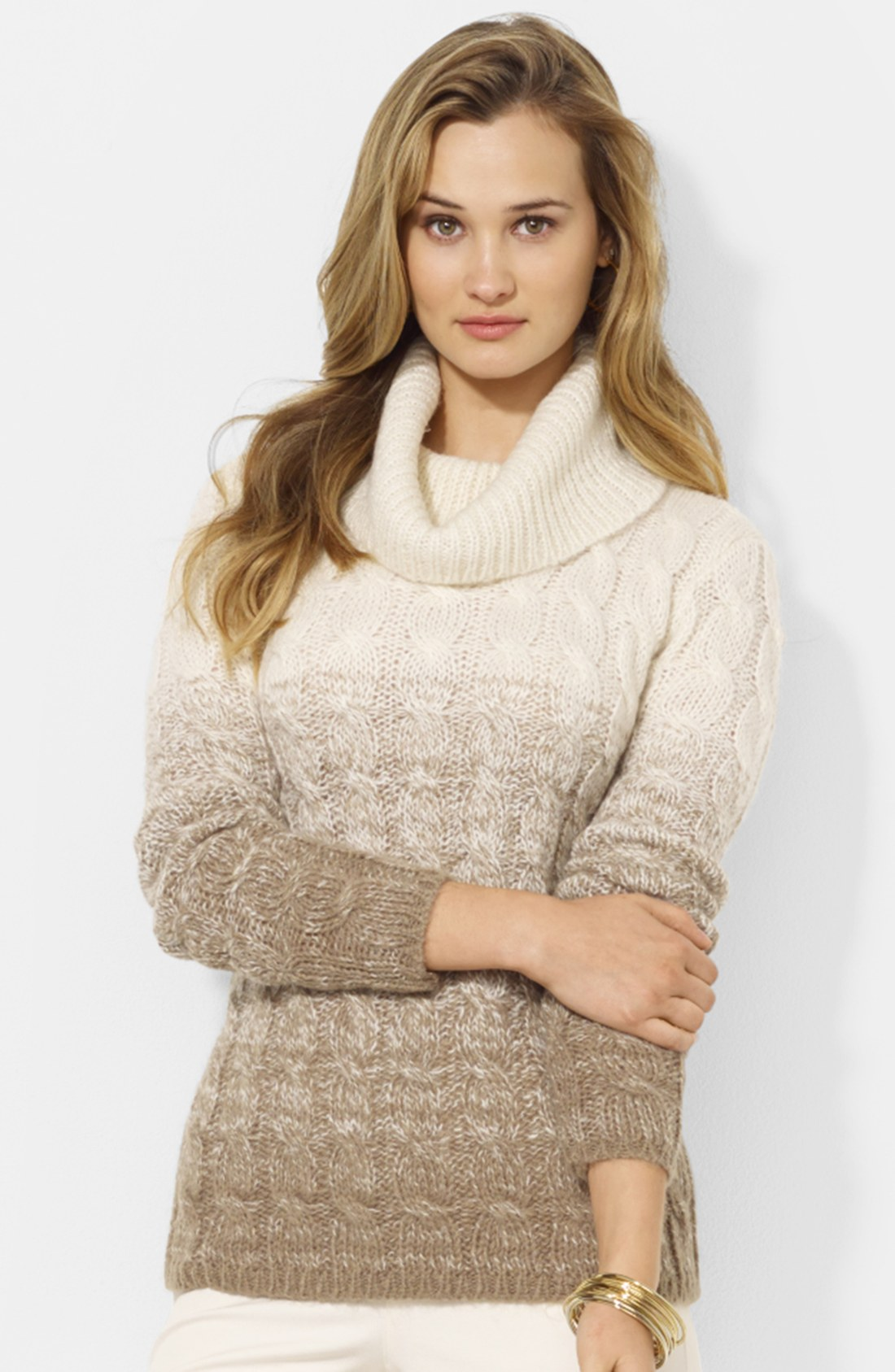 Lauren Mock Turtleneck Cable Knit Sweater - Cashmere Sweater England