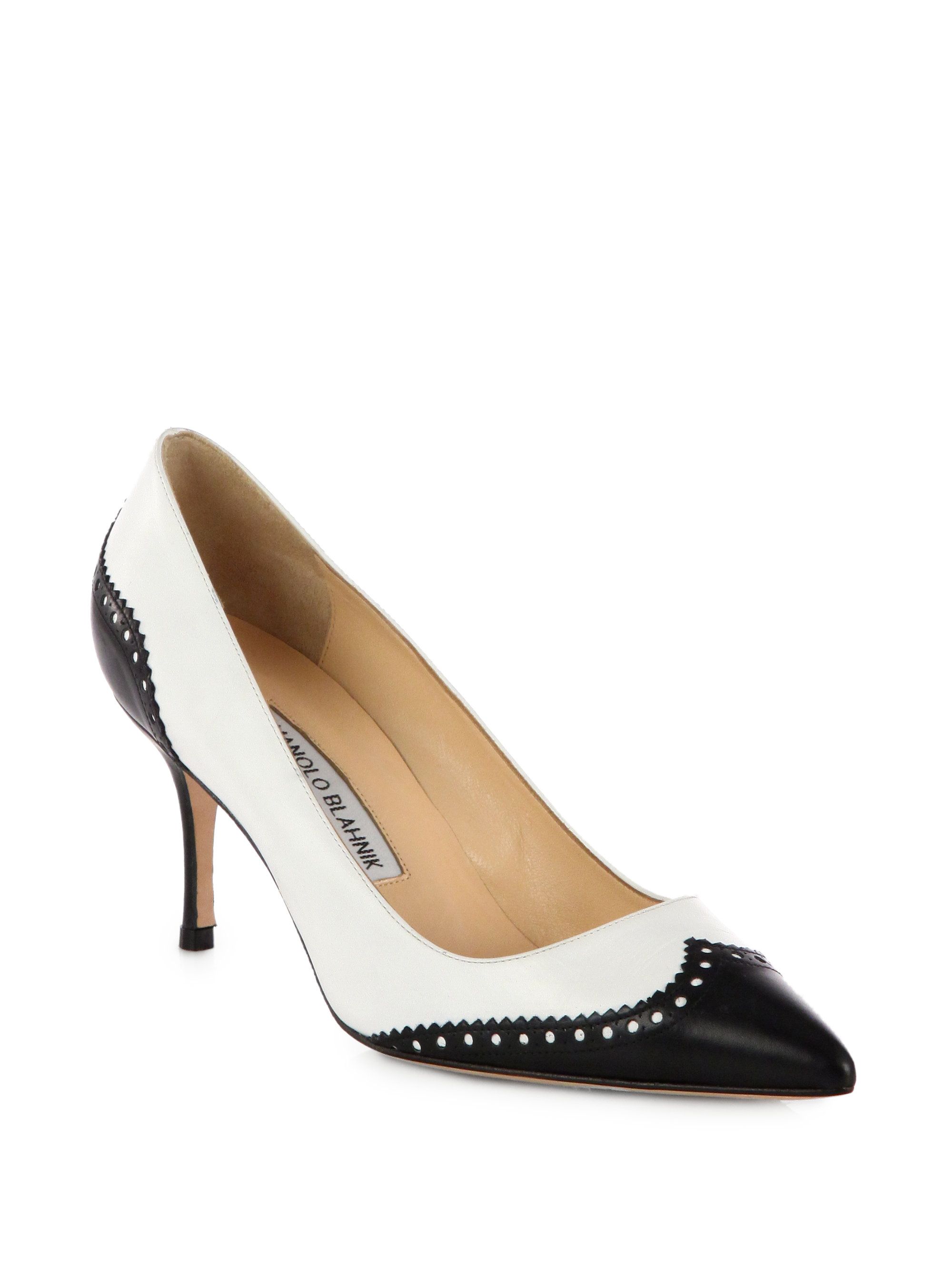 Womens Black And White Leather Shoes