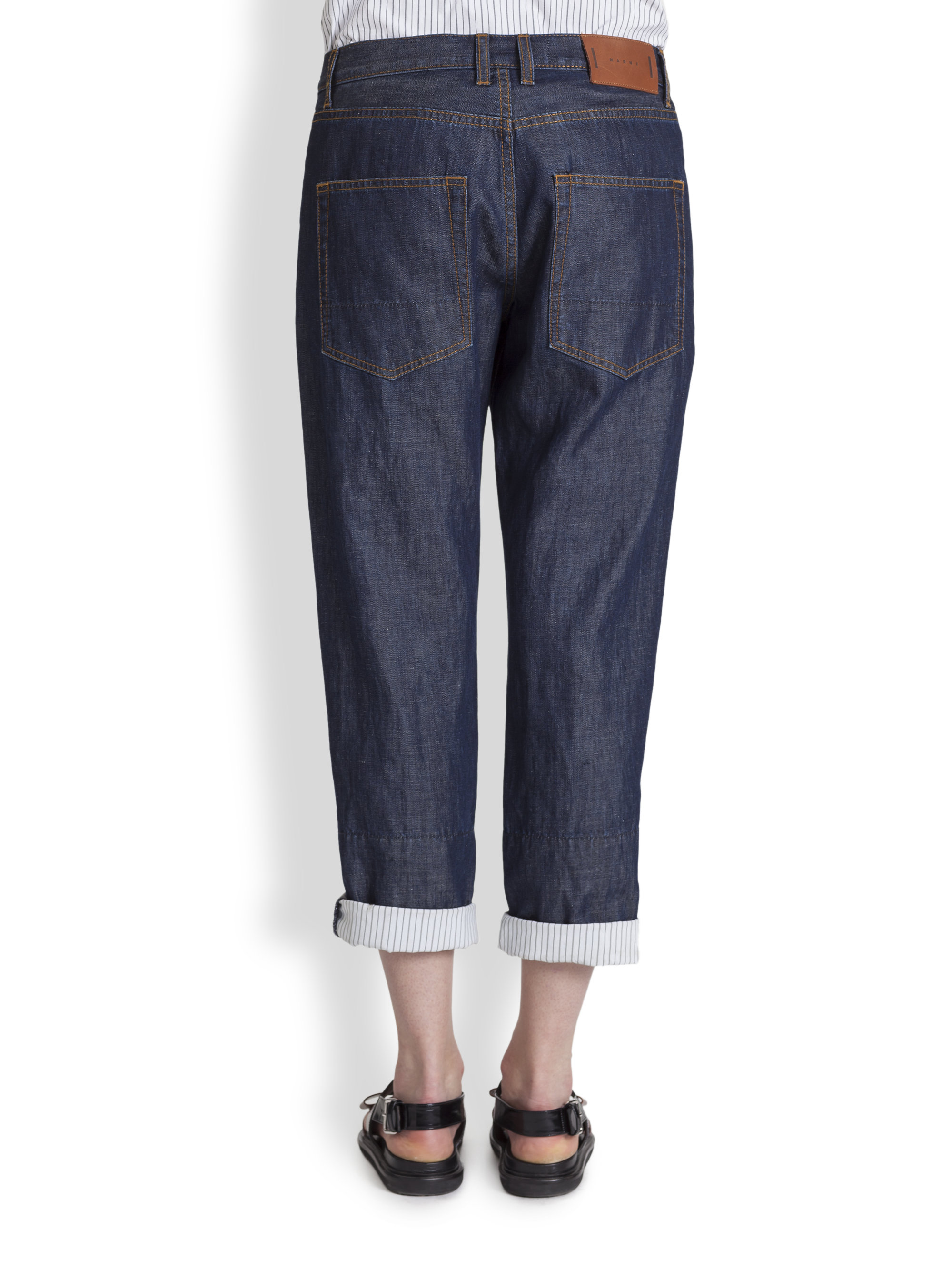 marni denim boyfriend jeans in blue lyst. Black Bedroom Furniture Sets. Home Design Ideas