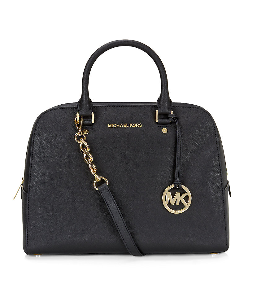 michael michael kors large jet set travel satchel in black. Black Bedroom Furniture Sets. Home Design Ideas