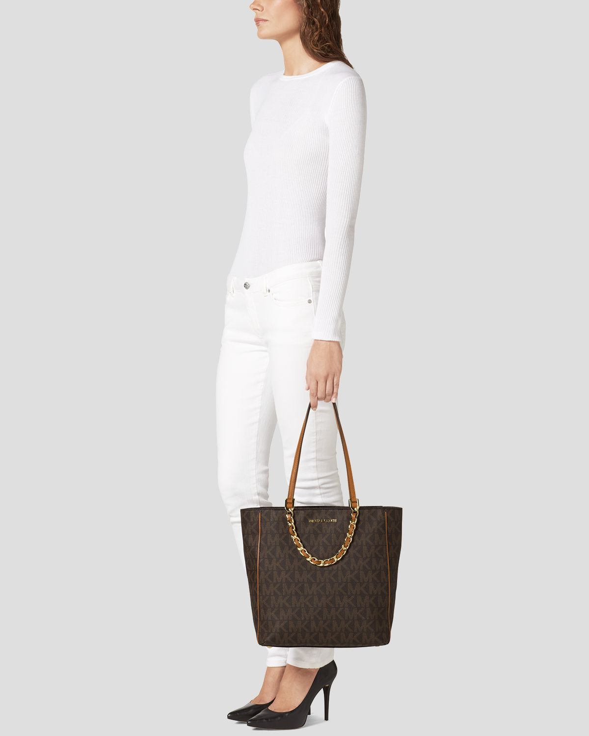 76e37d4cfe8d sale lyst michael michael kors tote harper large north south in brown dc549  85603