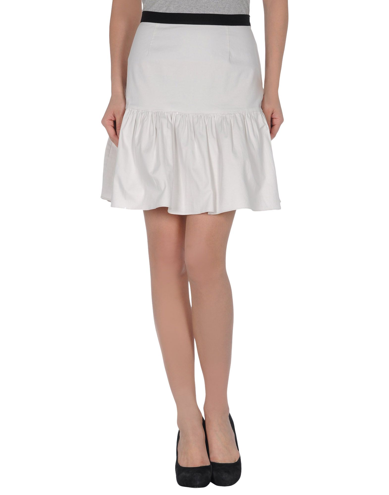 moschino cheap chic knee length skirt in white lyst