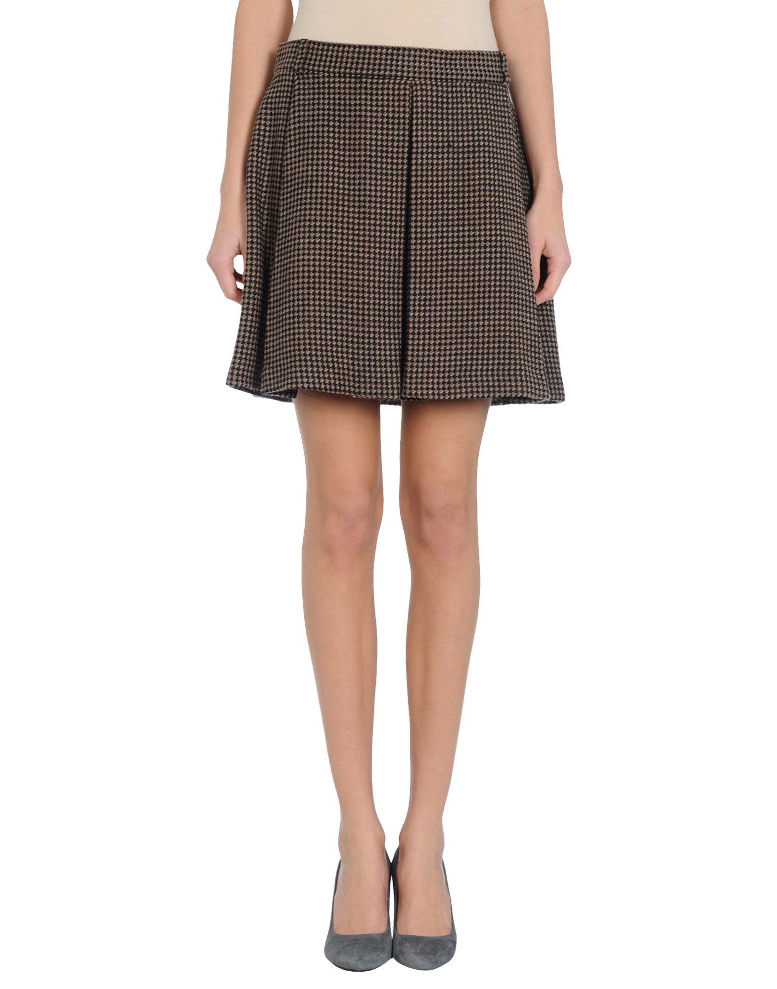msgm knee length skirt in khaki lyst