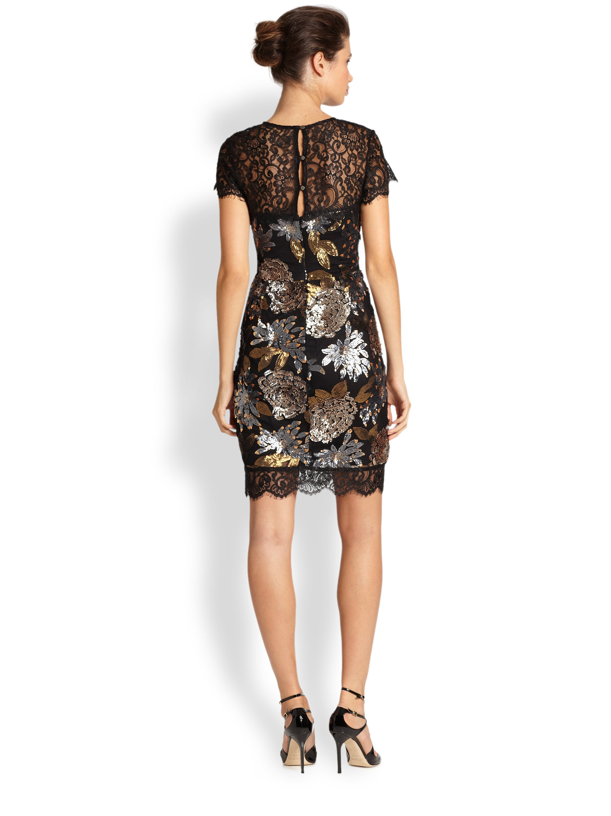 Lyst Nicole Miller Floral Sequin Cocktail Dress In Black