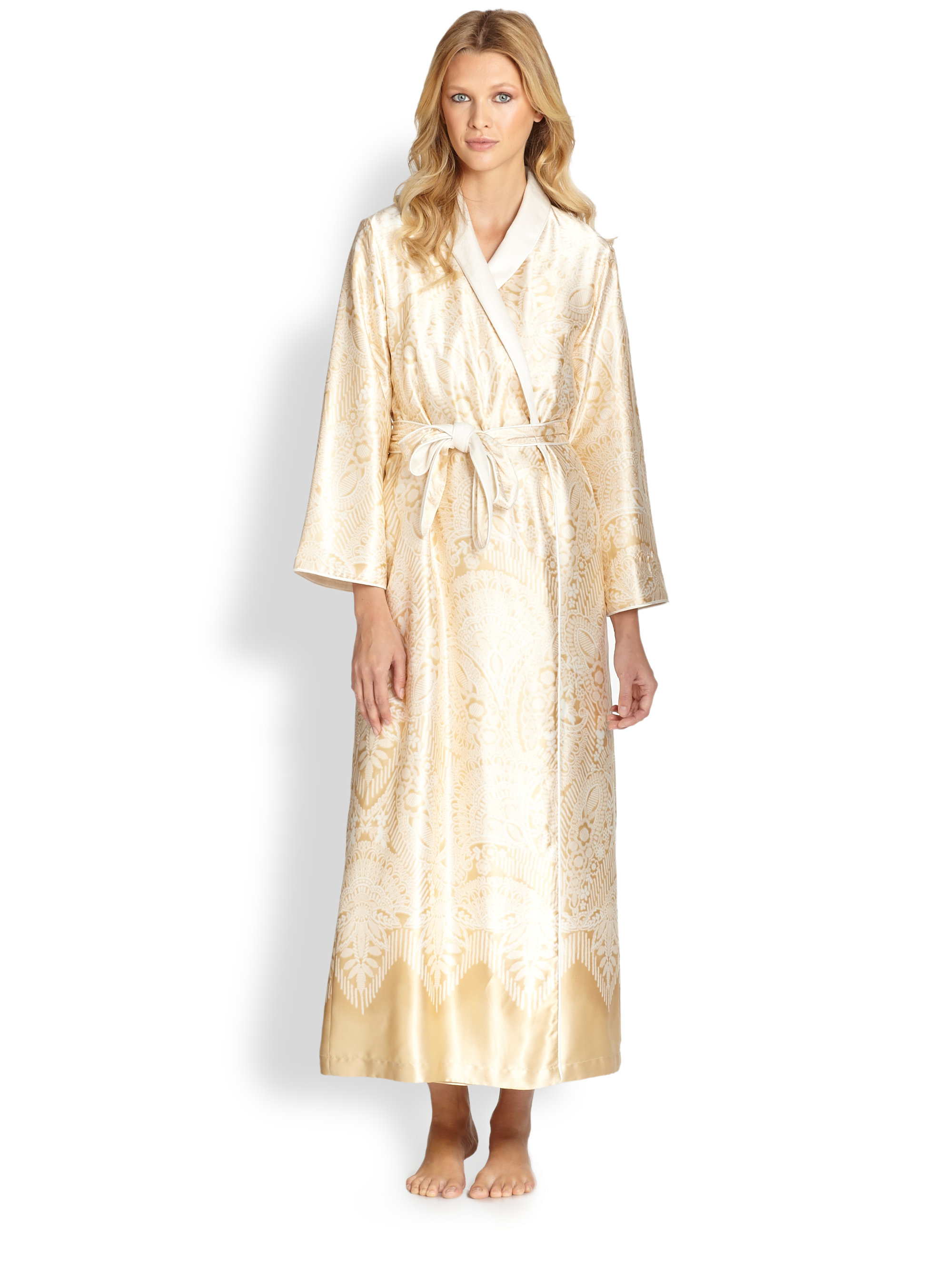 lyst oscar de la renta faux furlined satin print robe in metallic. Black Bedroom Furniture Sets. Home Design Ideas
