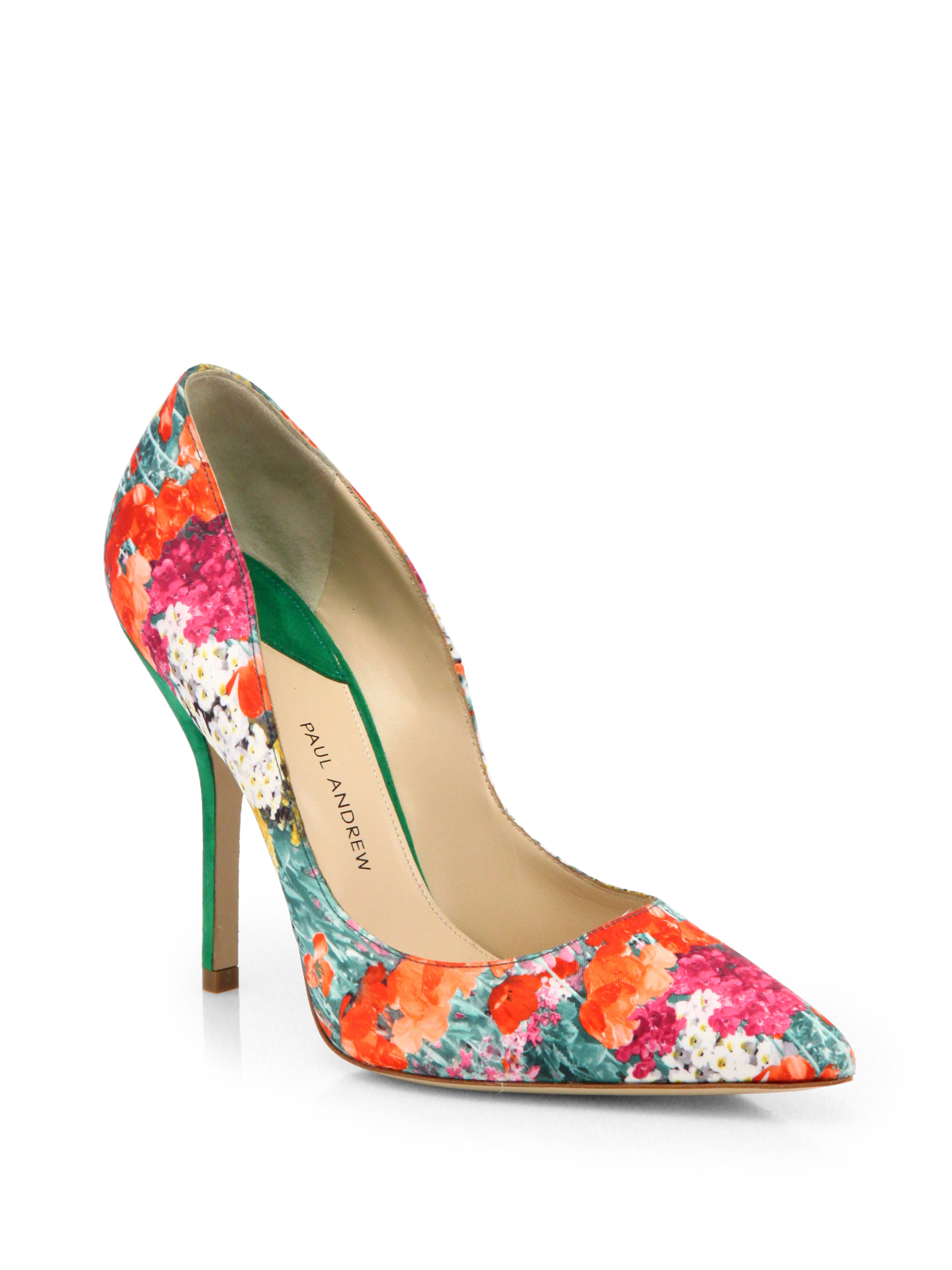 cheap discount under 50 dollars Paul Andrew Satin Printed Pumps buy cheap top quality 7CoeR