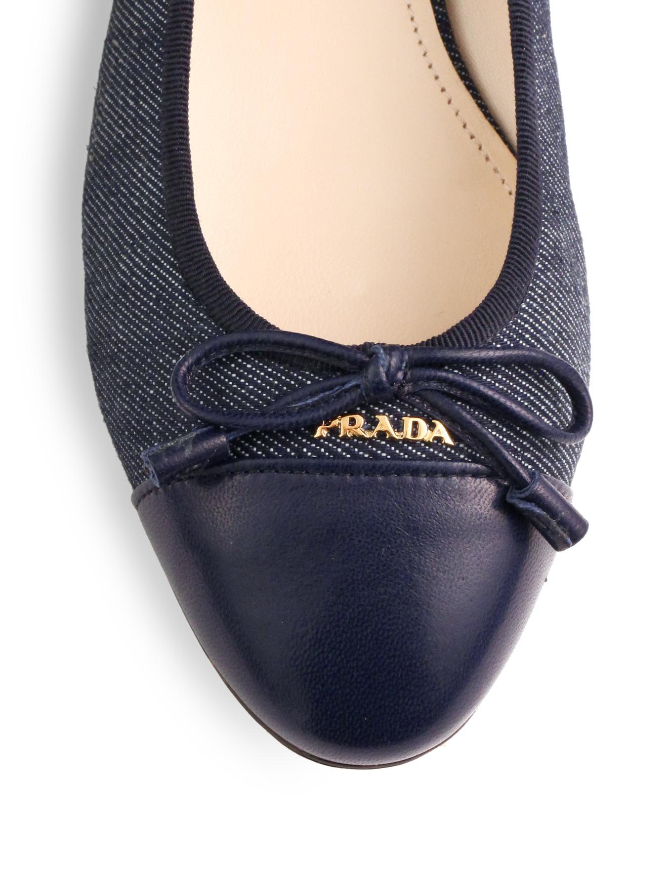 Lyst Prada Denim Leather Captoe Ballet Flats In Blue