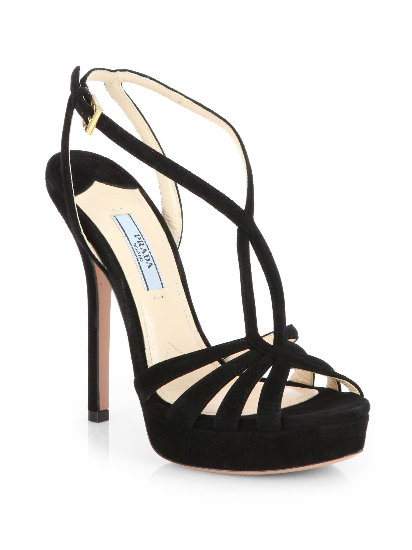 bf7577f662ef Lyst - Prada Strappy Suede Platform Sandals in Black