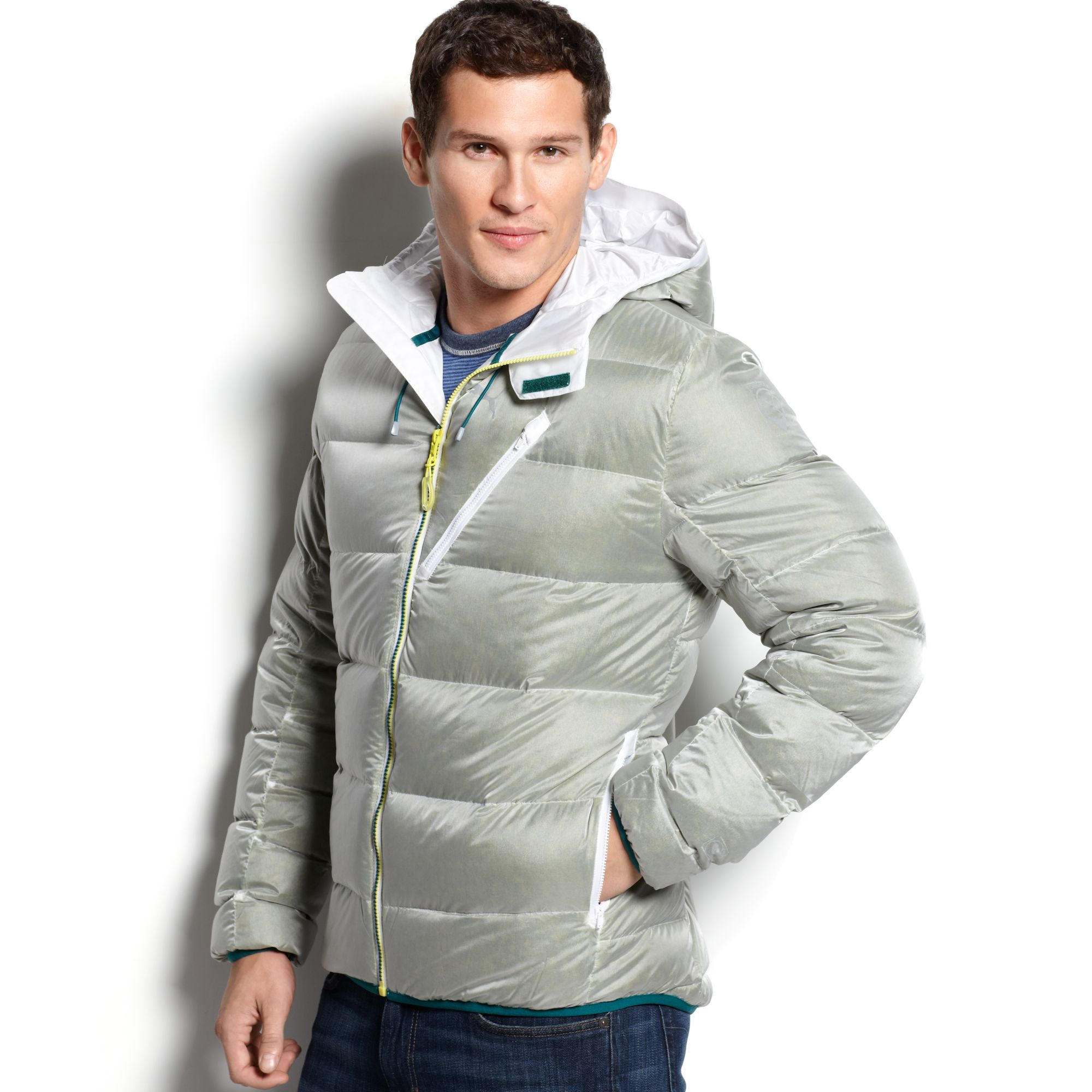 42bae5250ac1 Lyst - PUMA Hooded Quilted Down Puffer in Gray for Men