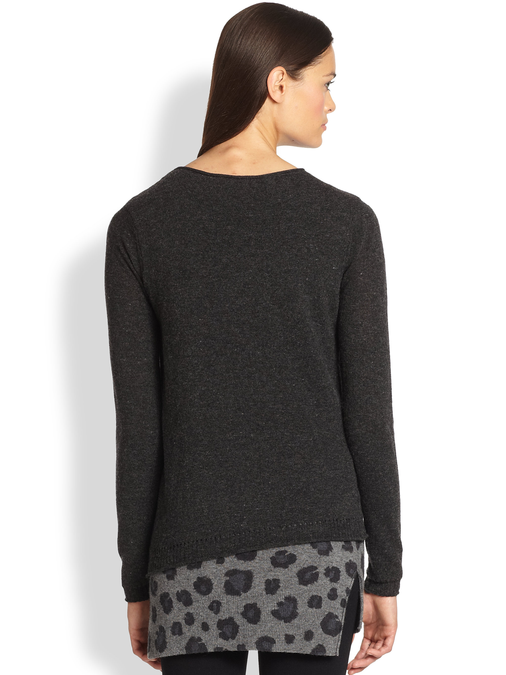 Rebecca taylor Long sleeve Layered Sweater Tunic in Gray | Lyst