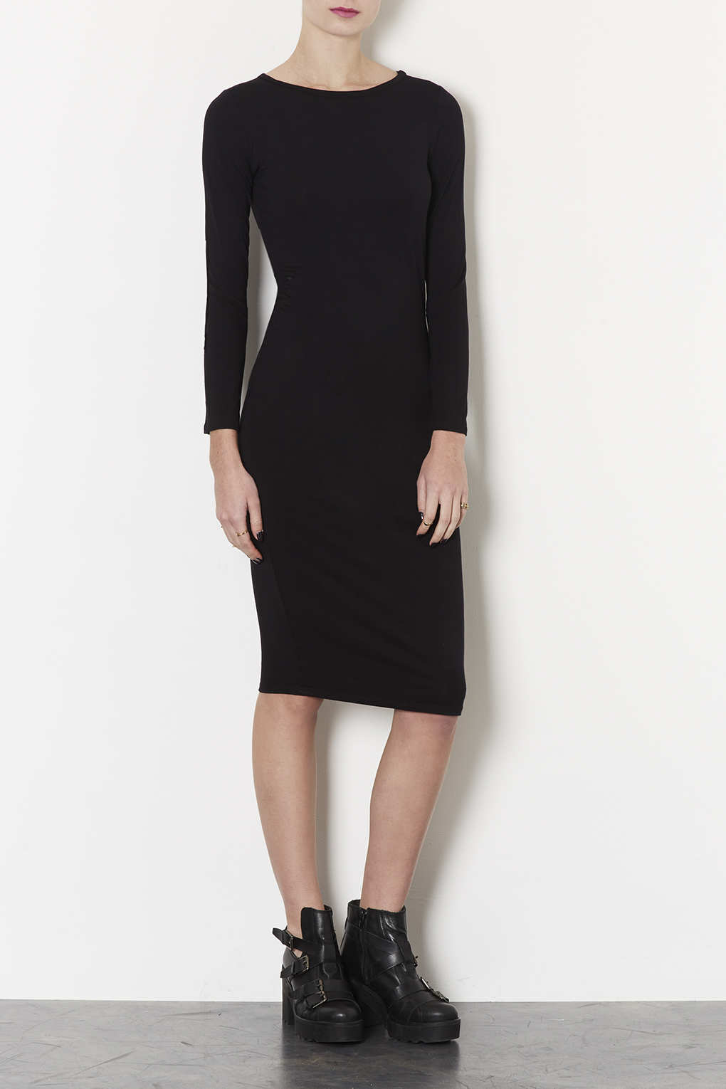 Topshop Petite Midi Bodycon Dress In Black Lyst