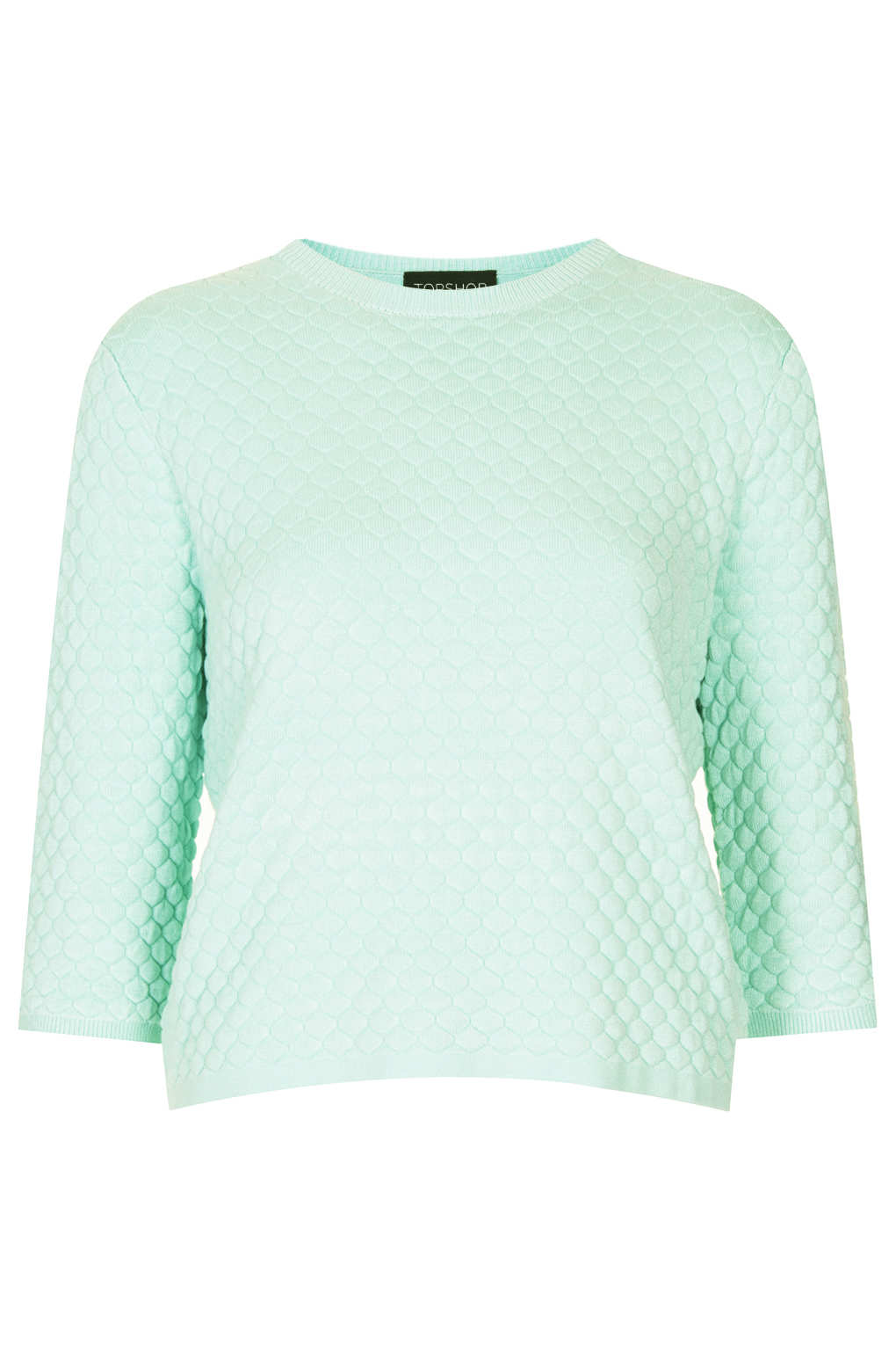 Lyst Topshop Knitted Quilted Jumper In Green