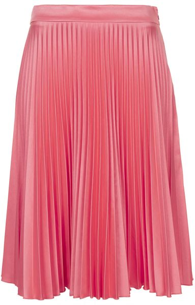 topshop pink sunray pleat skirt in pink lyst