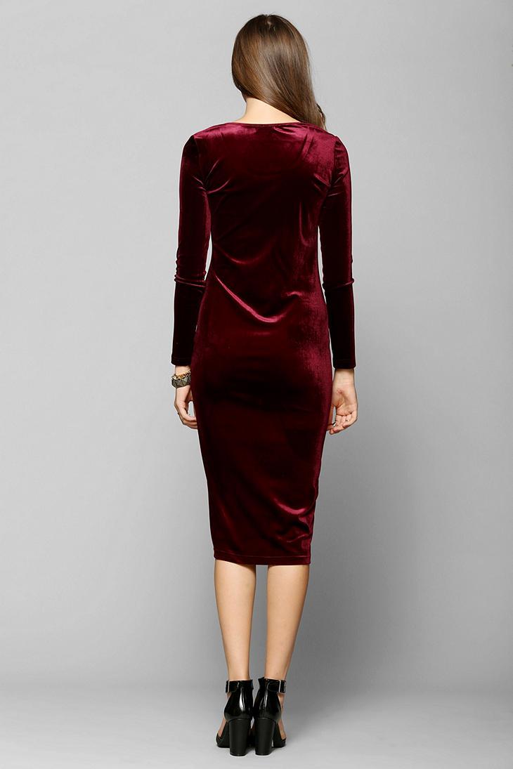Urban Outfitters Glamorous Longsleeve Velvet Midi Dress In Berry Red Lyst