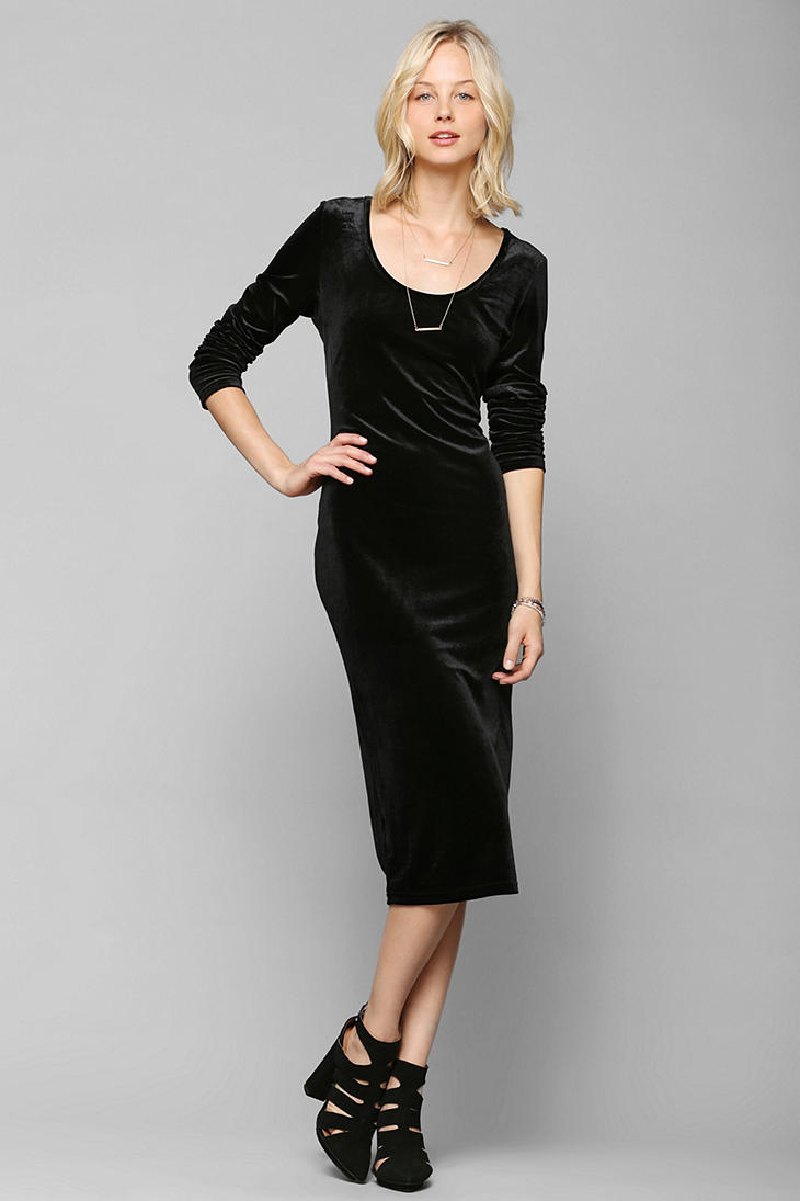 Urban Outfitters Glamorous Long Sleeve Velvet Midi Dress