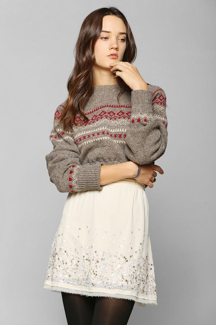 Urban outfitters Urban Renewal Cropped Fair Isle Sweater in Gray ...