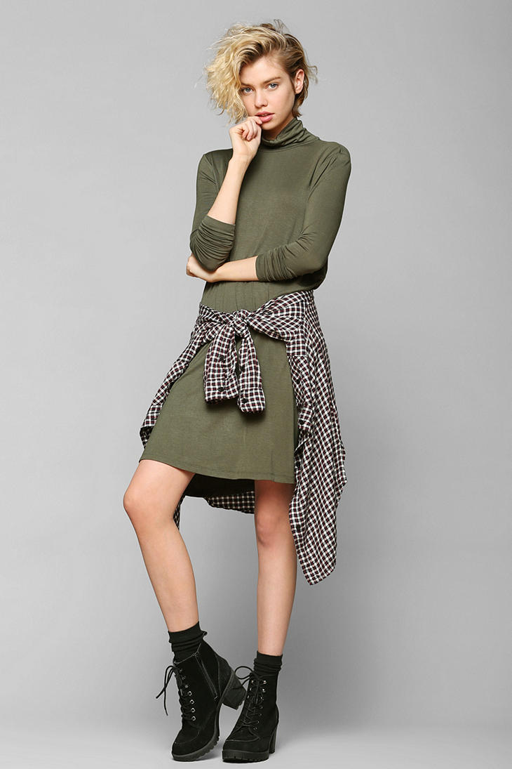 53c37219bb3a Lyst - Urban Outfitters Sparkle Fade Knit Turtleneck Swing Dress in ...