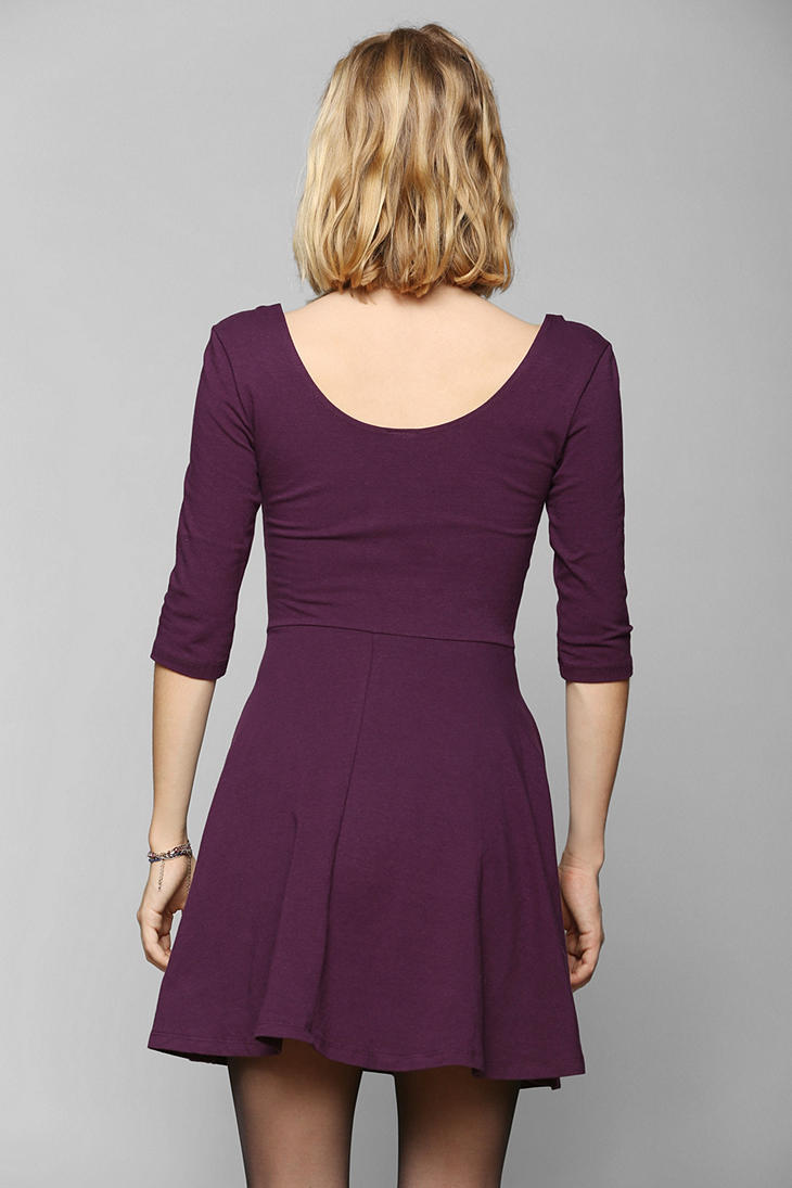 Urban Outfitters Sparkle Fade 3 4 Sleeve Knit Skater Dress