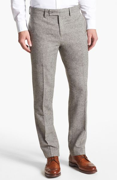 1901 Slim Straight Leg Grey Flannel Trousers In Gray For