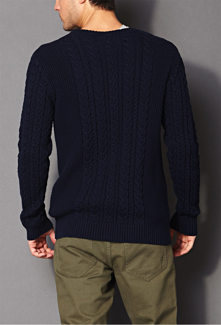 Forever 21 Chunky Cable Knit Sweater in Blue for Men | Lyst