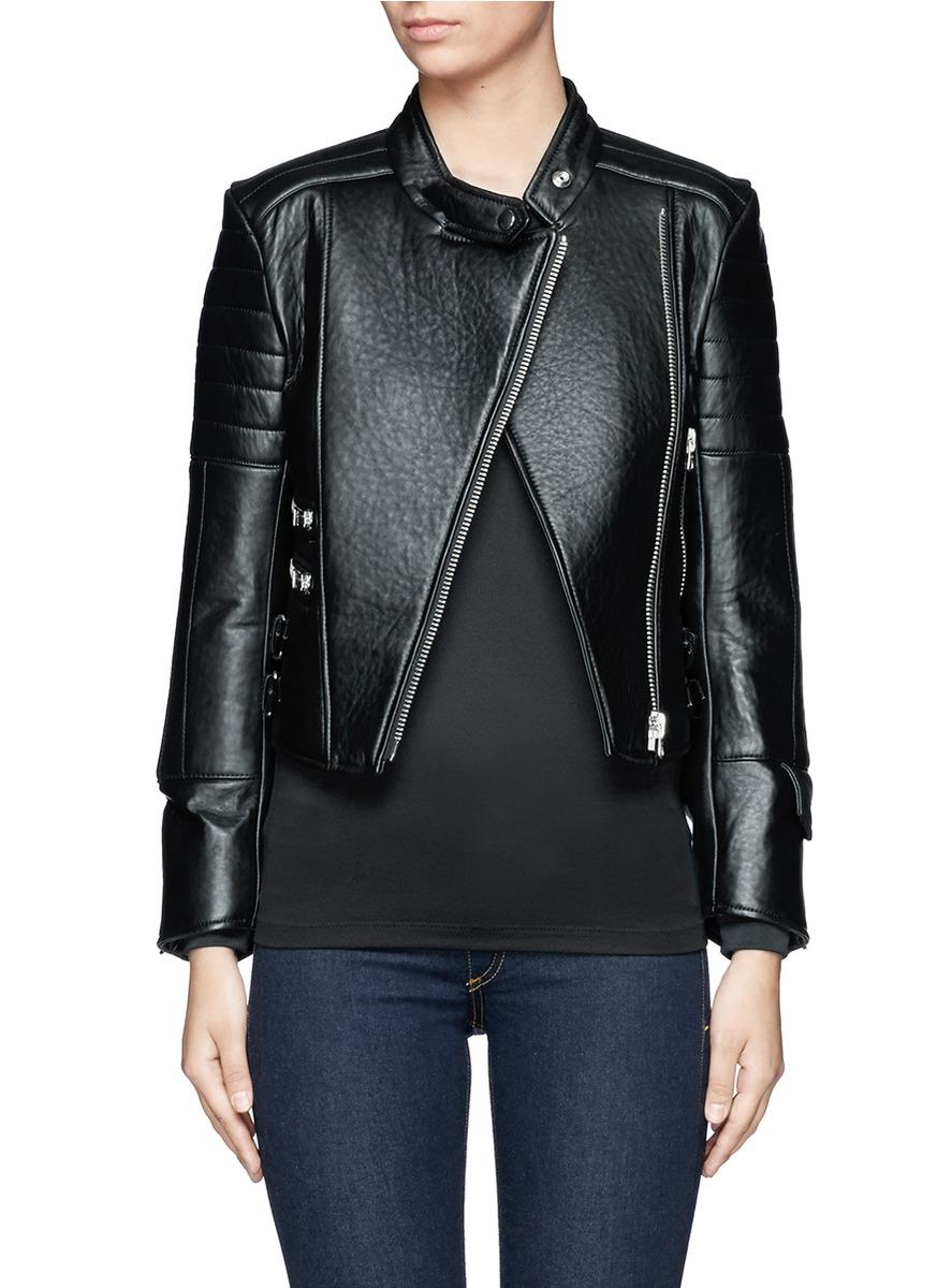 Acne Studios Moi Padded Lamb Leather Biker Jacket in Black | Lyst