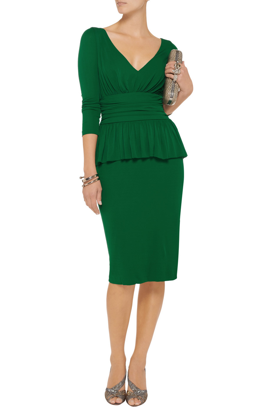 Alexander Mcqueen Ruched Crepe Jersey Dress In Green Lyst