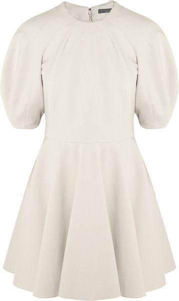 Alexander Mcqueen Woolblend Stretchjersey Dress in White (gray)