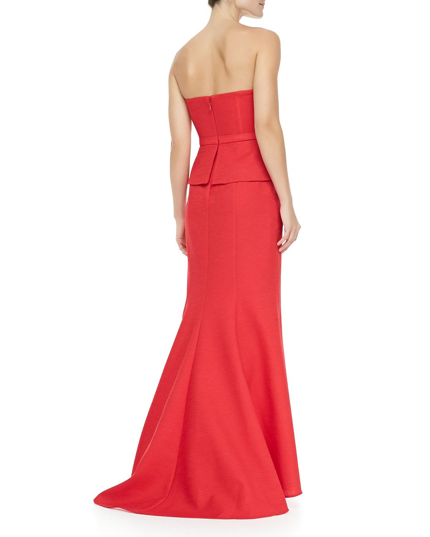 Lyst - Bcbgmaxazria Gracie Strapless Peplum Gown in Red