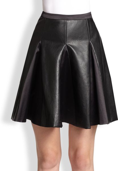 by malene birger lookalike pleated faux leather skirt in