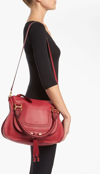 Chlo 233 Marcie Small Leather Satchel In Red Peony Red Lyst