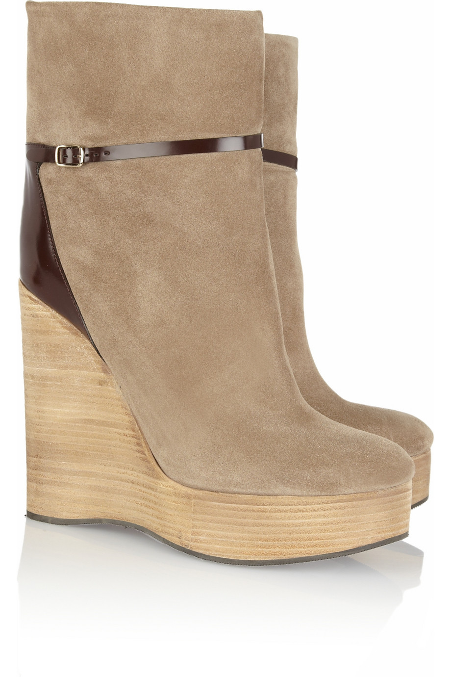 Chloé Suede Wedge Ankle Boots in Natural | Lyst