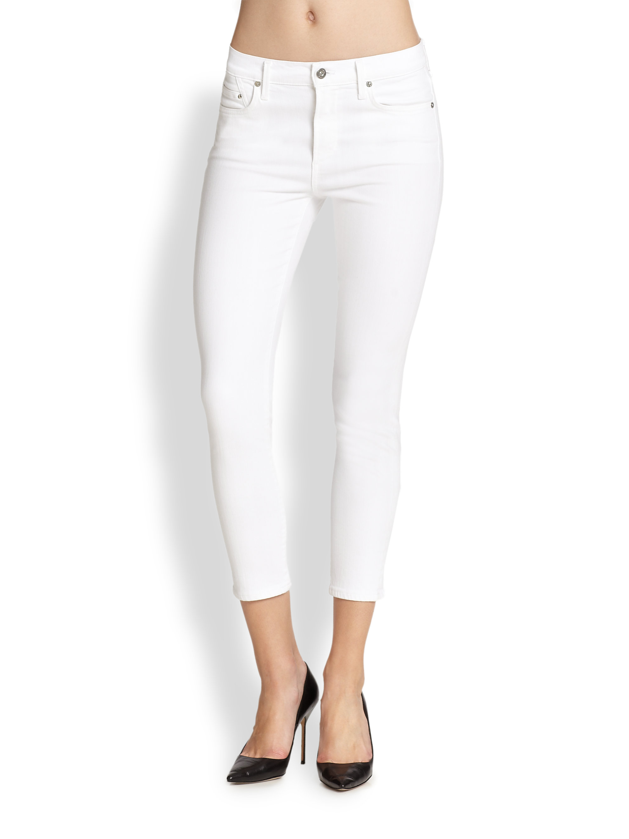 white cropped skinny jeans - Jean Yu Beauty