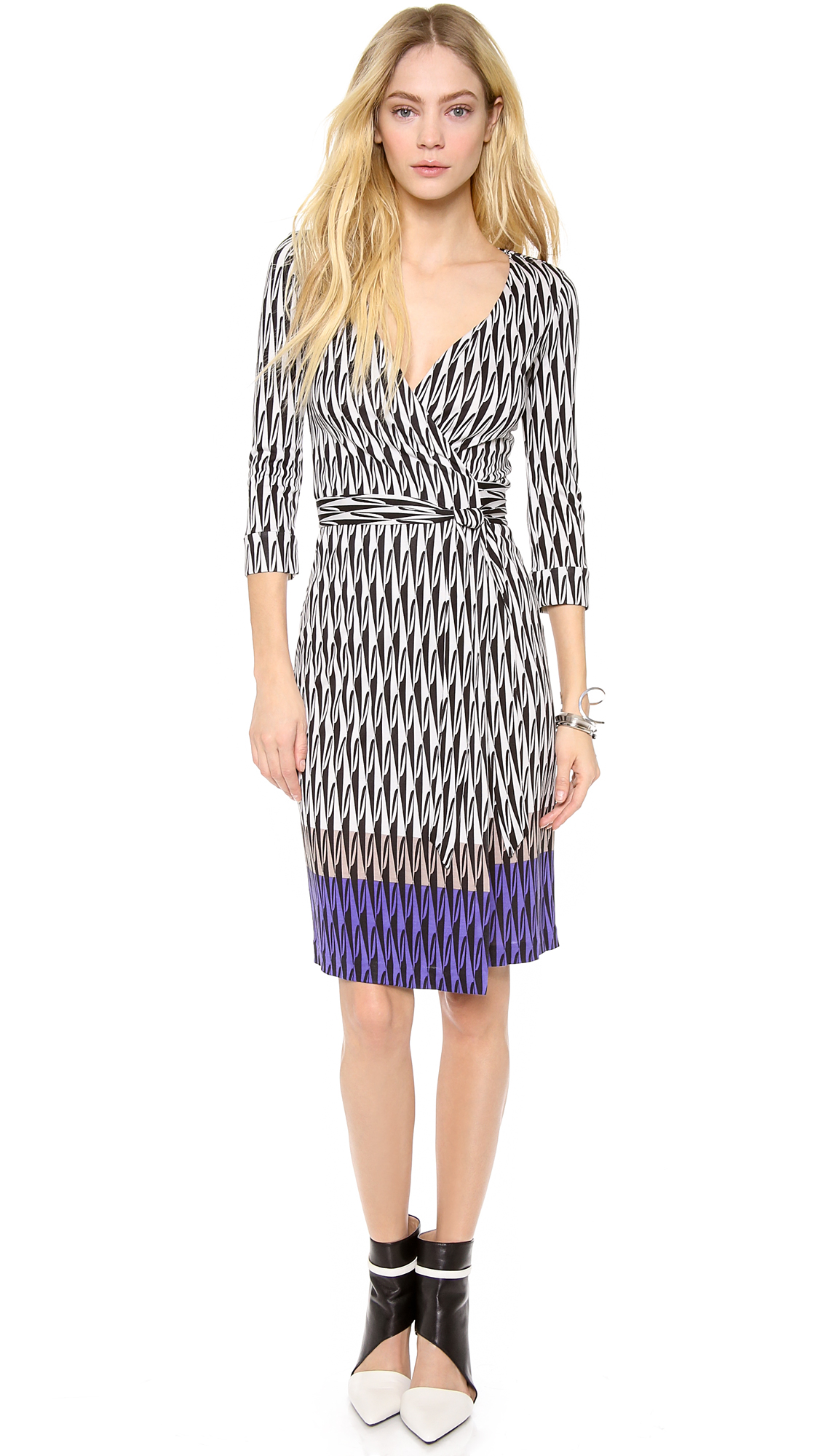 diane von furstenberg new julian two wrap dress in white modern harlequin placement lyst. Black Bedroom Furniture Sets. Home Design Ideas