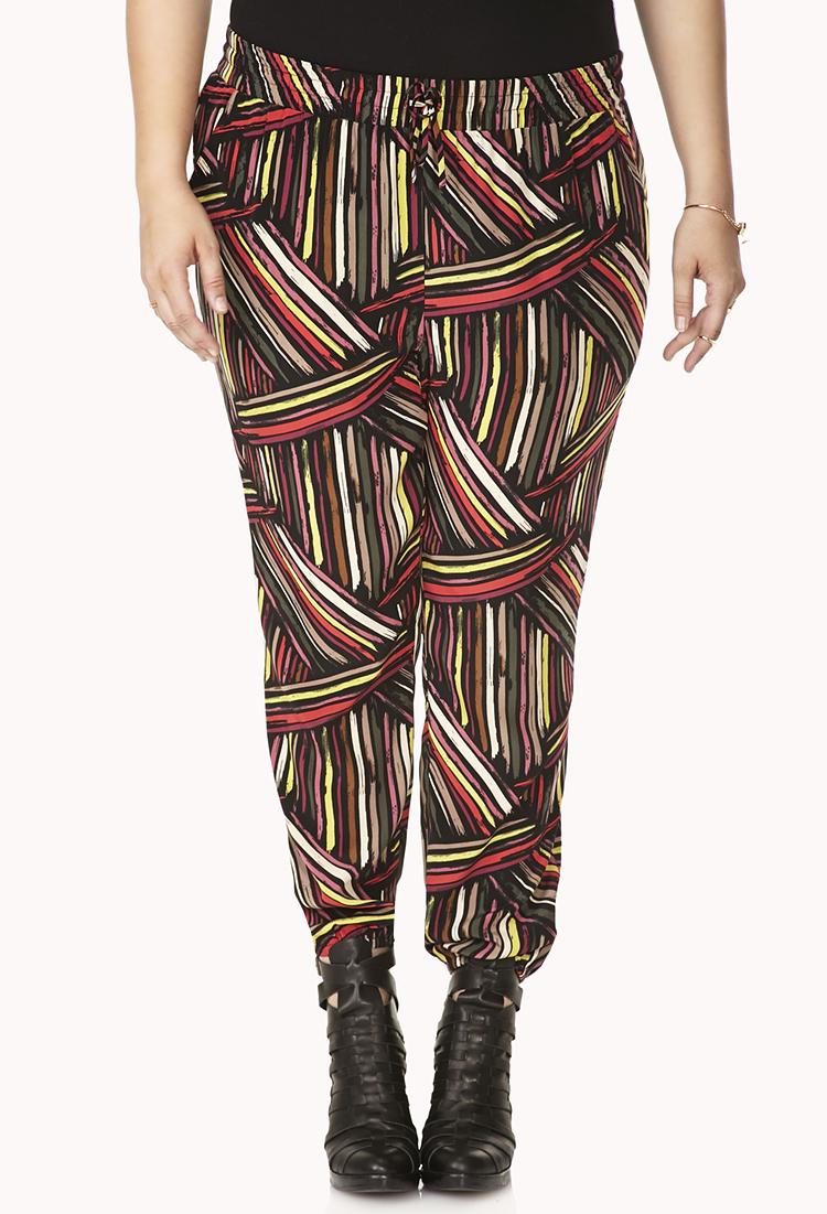 Forever 21 Striking Striped Harem Pants in Brown (Black ...