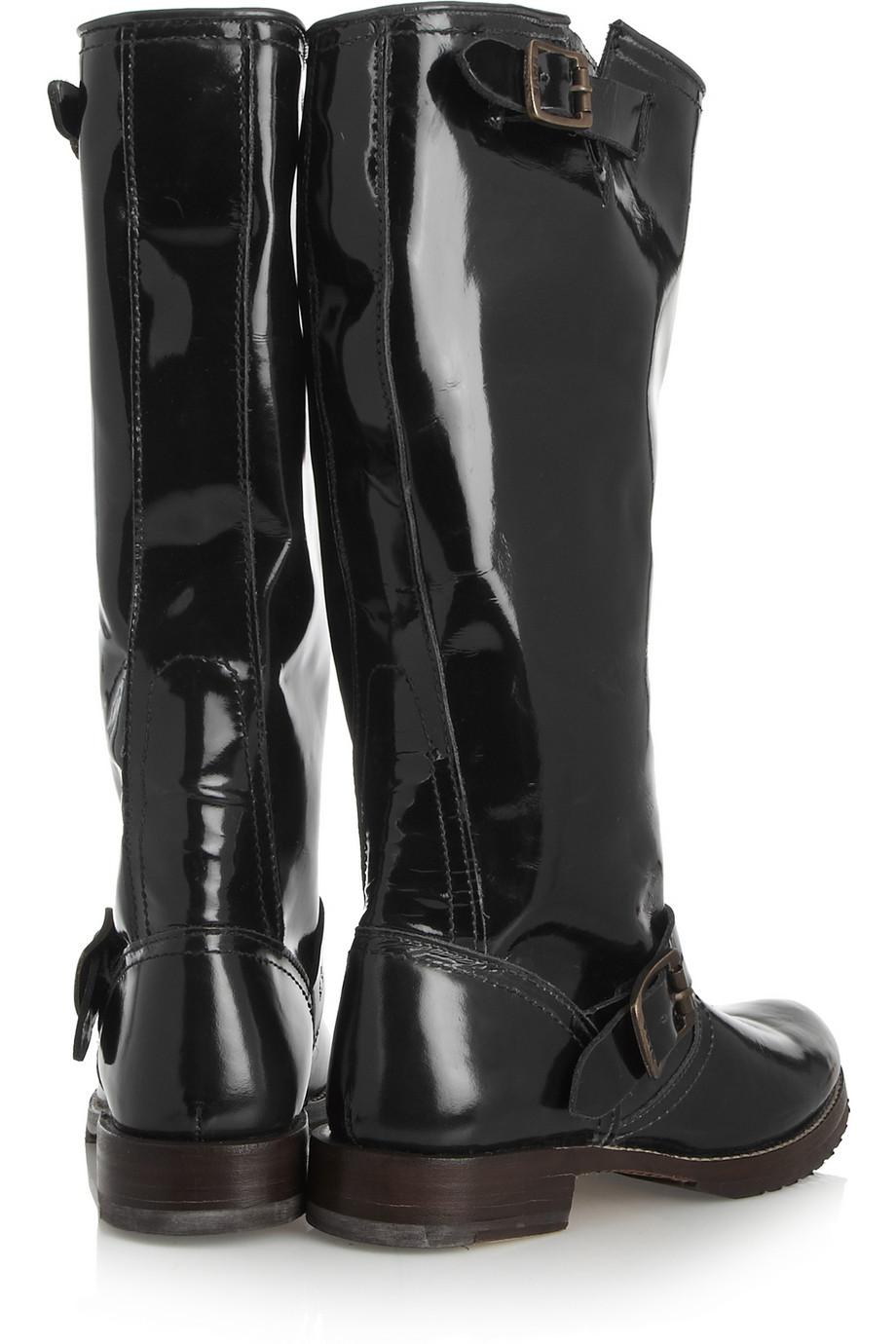 shoeniverse frye black patent leather boots