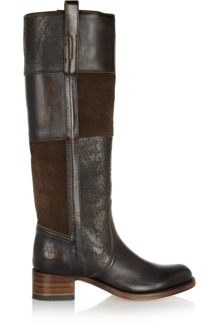 frye patchwork suede and leather knee boots in
