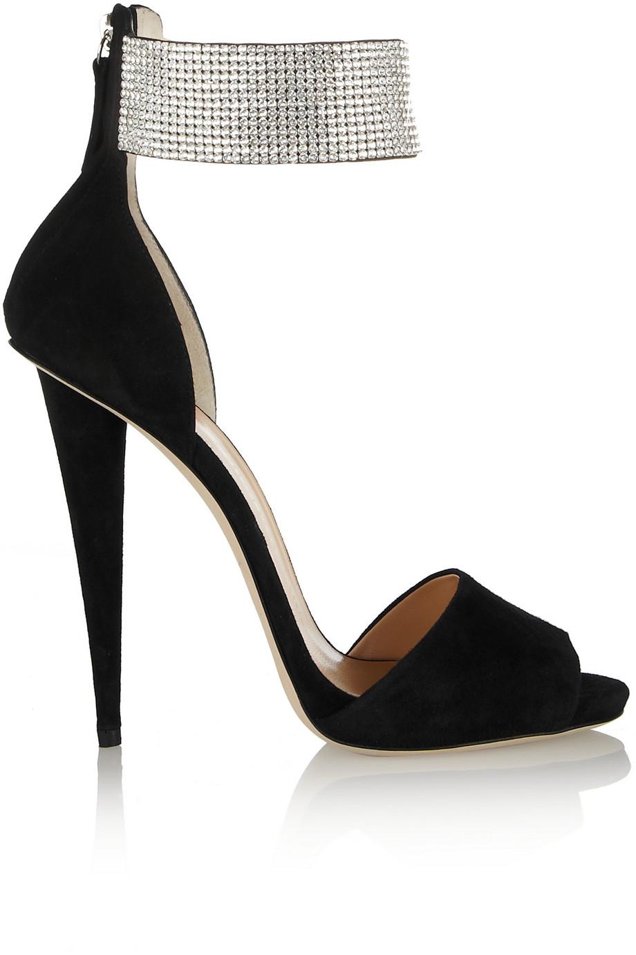 c8c33d414cd Lyst - Giuseppe Zanotti Alien Crystal-Embellished Suede Sandals in Black