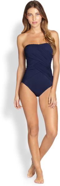 Gottex Lattice Bandeau One Piece Swimsuit In Blue Dark